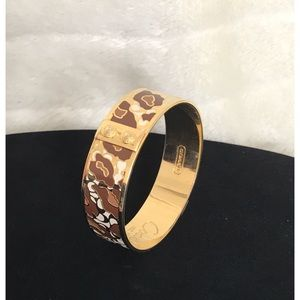 COACH AUTH Signature Gold Plated & Enamel Bangle